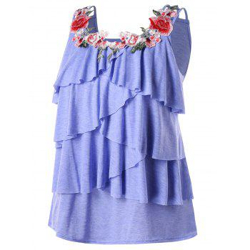 Plus Size Embroidery Layered Ruffle Tank Top - BLUE LOTUS L