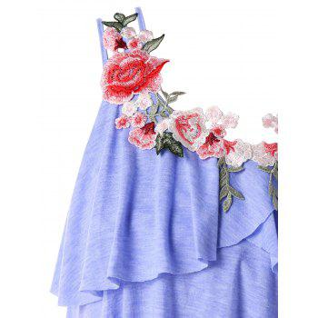 Plus Size Embroidery Layered Ruffle Tank Top - BLUE LOTUS 3X