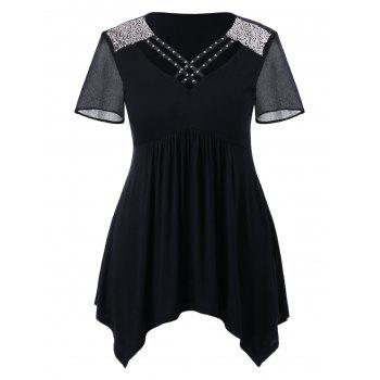 Plus Size Criss Cross V Neck Sparkly T-shirt - BLACK L