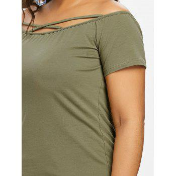Plus Size Off Shoulder Criss Cross Tee - ARMY GREEN 3X