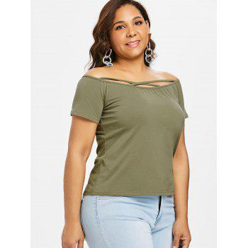 Plus Size Off Shoulder Criss Cross Tee - ARMY GREEN 4X