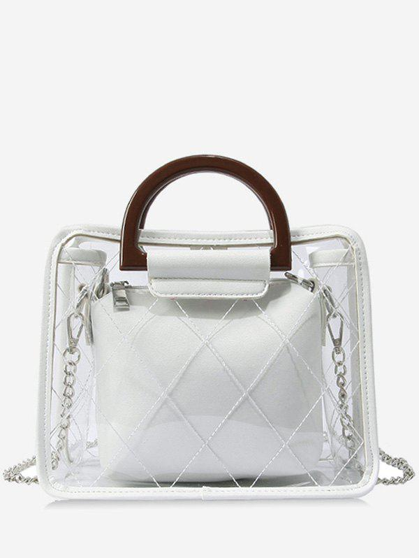 Quilted Jelly Top Handle 2 Pieces Handbag Set - WHITE