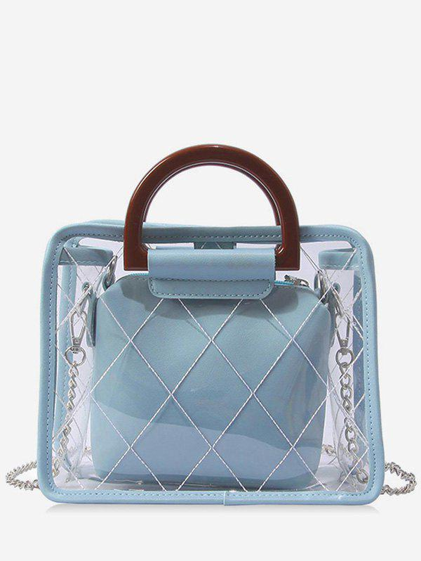 Quilted Jelly Top Handle 2 Pieces Handbag Set - BABY BLUE