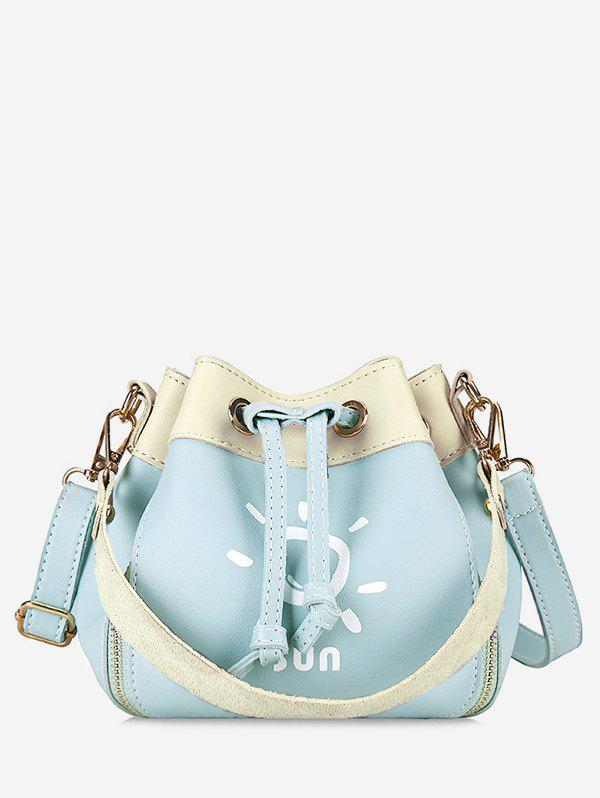 Bucket Shaped Color Block Print Crossbody Bag - JEANS BLUE
