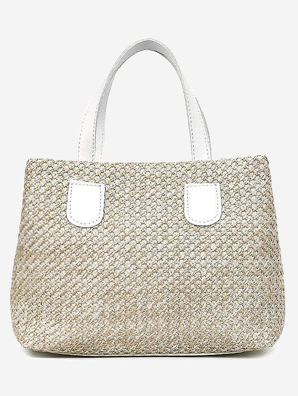 Contrasting Color Minimalist Leisure Handbag with Strap - WHITE