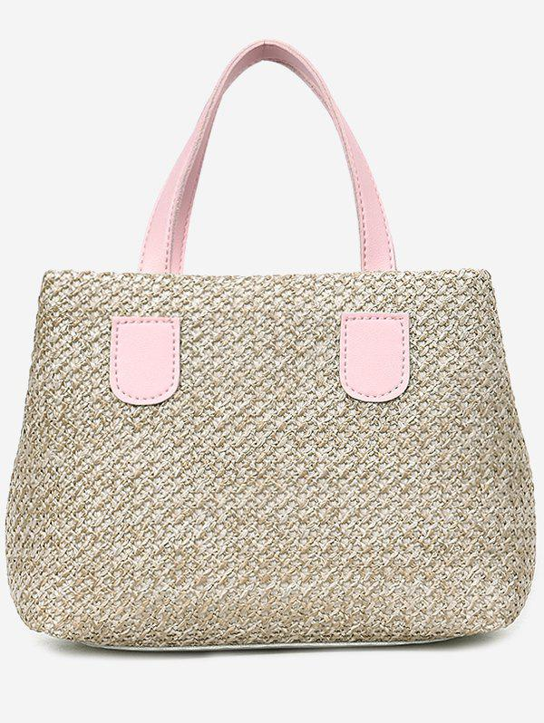 Contrasting Color Minimalist Leisure Handbag with Strap - LIGHT PINK