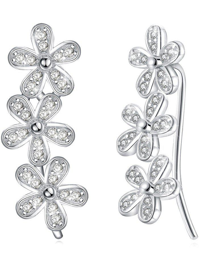 Pair of Colored Crystal Floral Pendant Earrings - WHITE