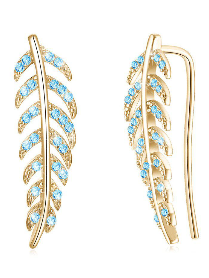 Vintage Colored Crystal Inlaid Leaf Party Earrings - BLUE ZIRCON