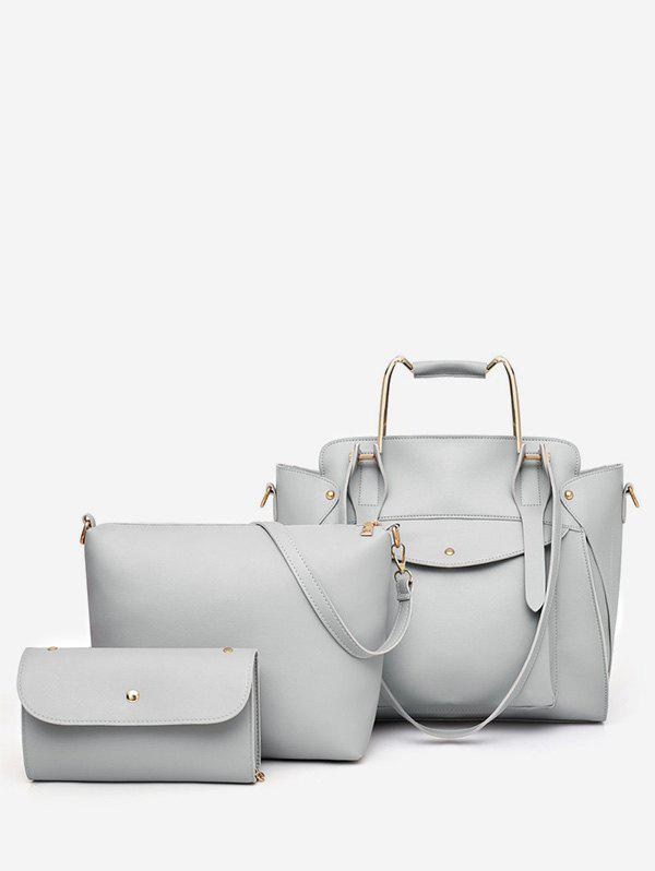 Casual Holiday Minimalist 3 Pieces Tote Bag Set - GRAY