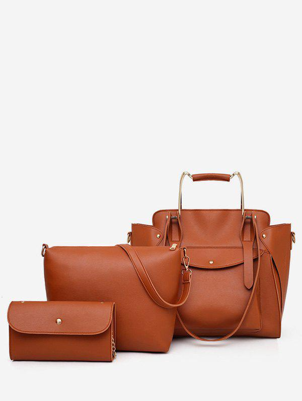 Casual Holiday Minimalist 3 Pieces Tote Bag Set - BROWN