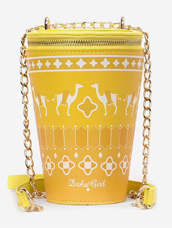 Patchwork Print Bucket Shaped Sling Bag - YELLOW