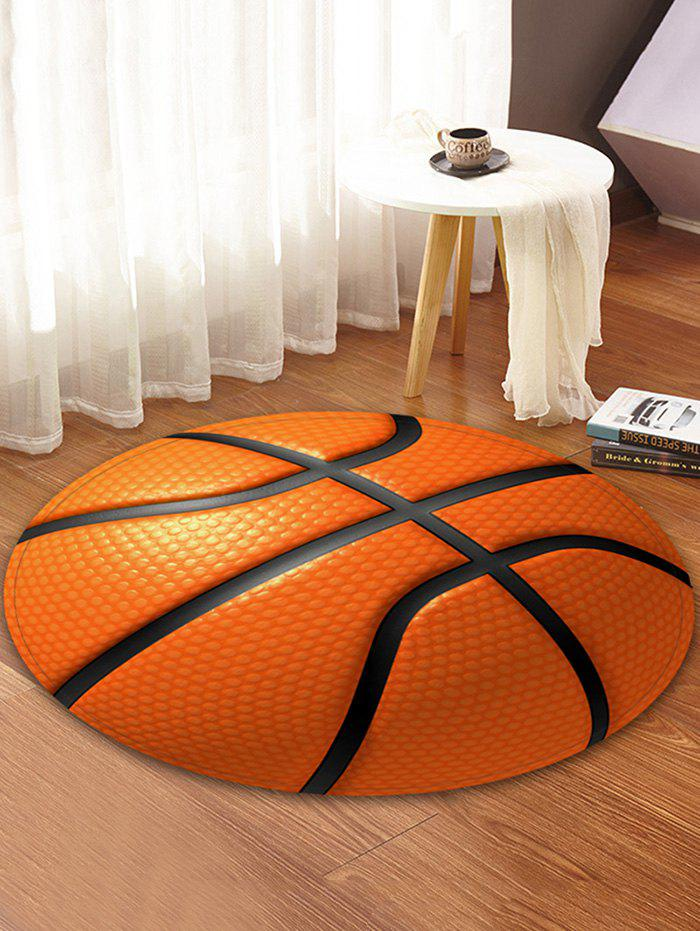 2018 3D Basketball Print Round Coral Fleece Floor Rug