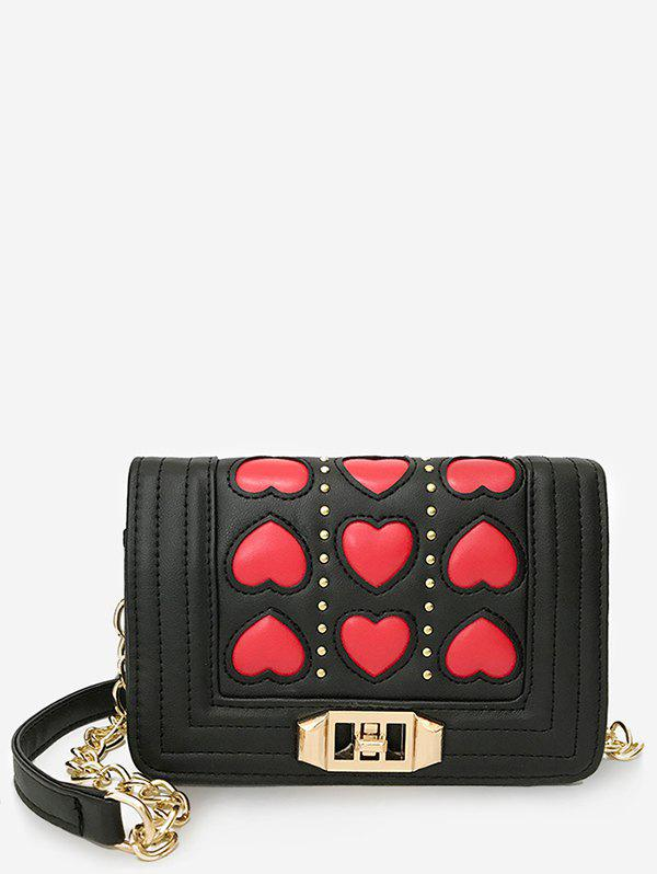 Metal Chain Contrasting Color Studs Crossbody Bag - RED
