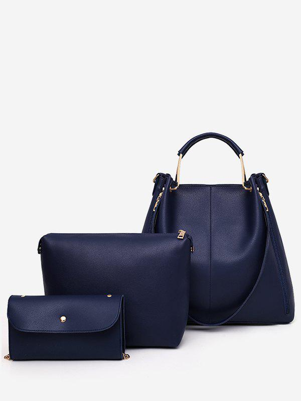 Top Handle Faux Leather Multi Functions 3 Pieces Tote Bag Set - DEEP BLUE