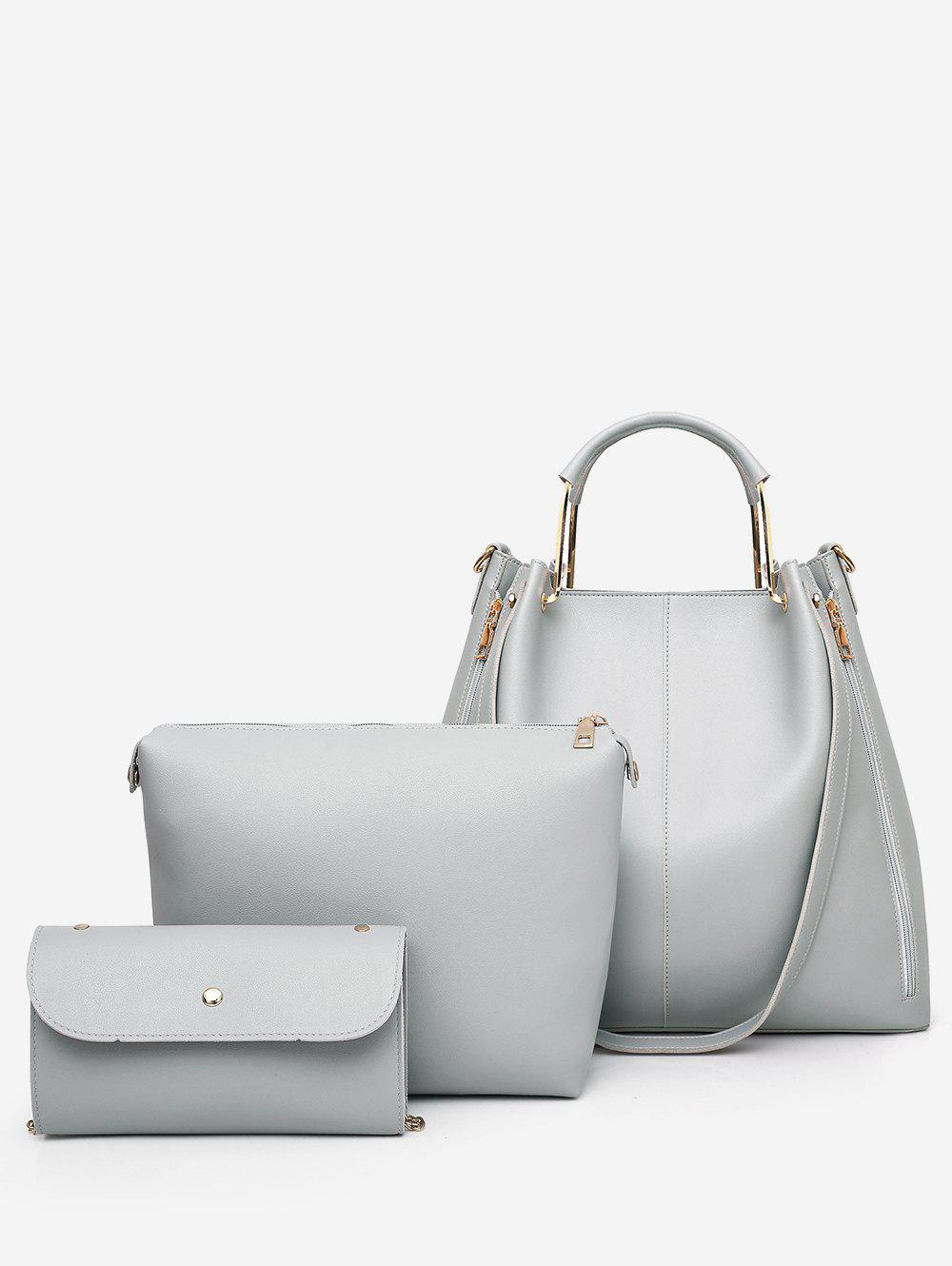 Top Handle Faux Leather Multi Functions 3 Pieces Tote Bag Set - GRAY