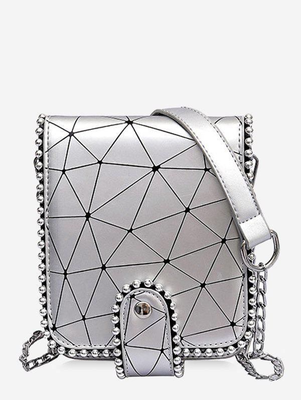 Daily Casual Beaded Geometric Pattern Sling Bag - SILVER