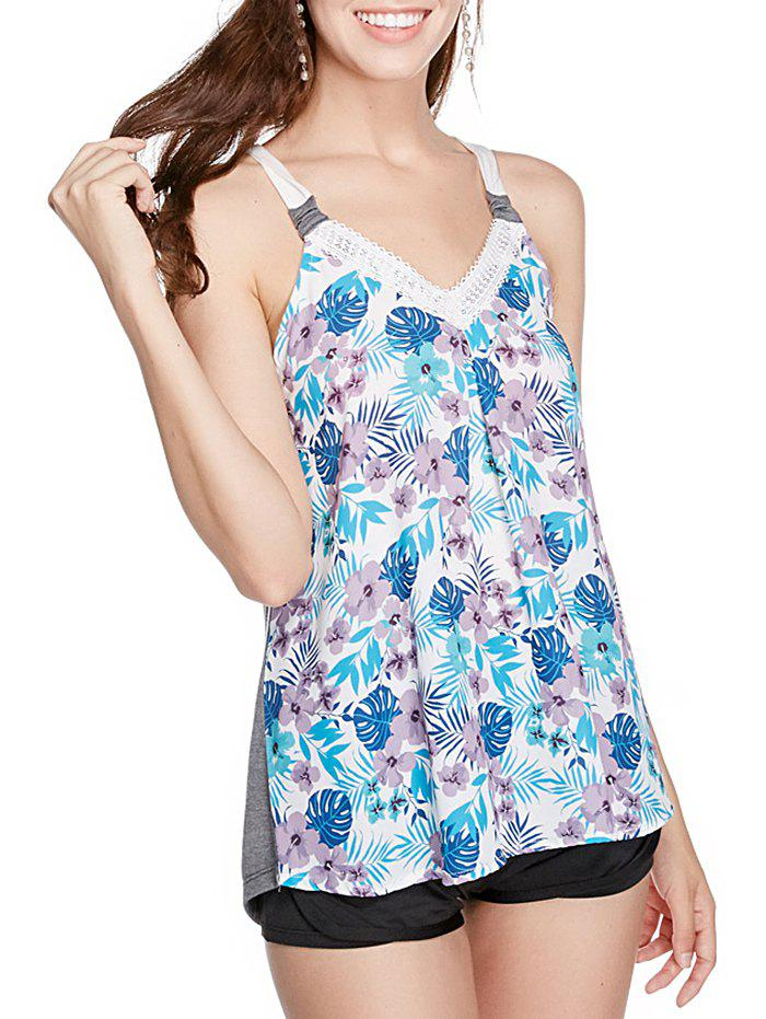 V Neck Floral Print Casual Tank Top - multicolor A XL