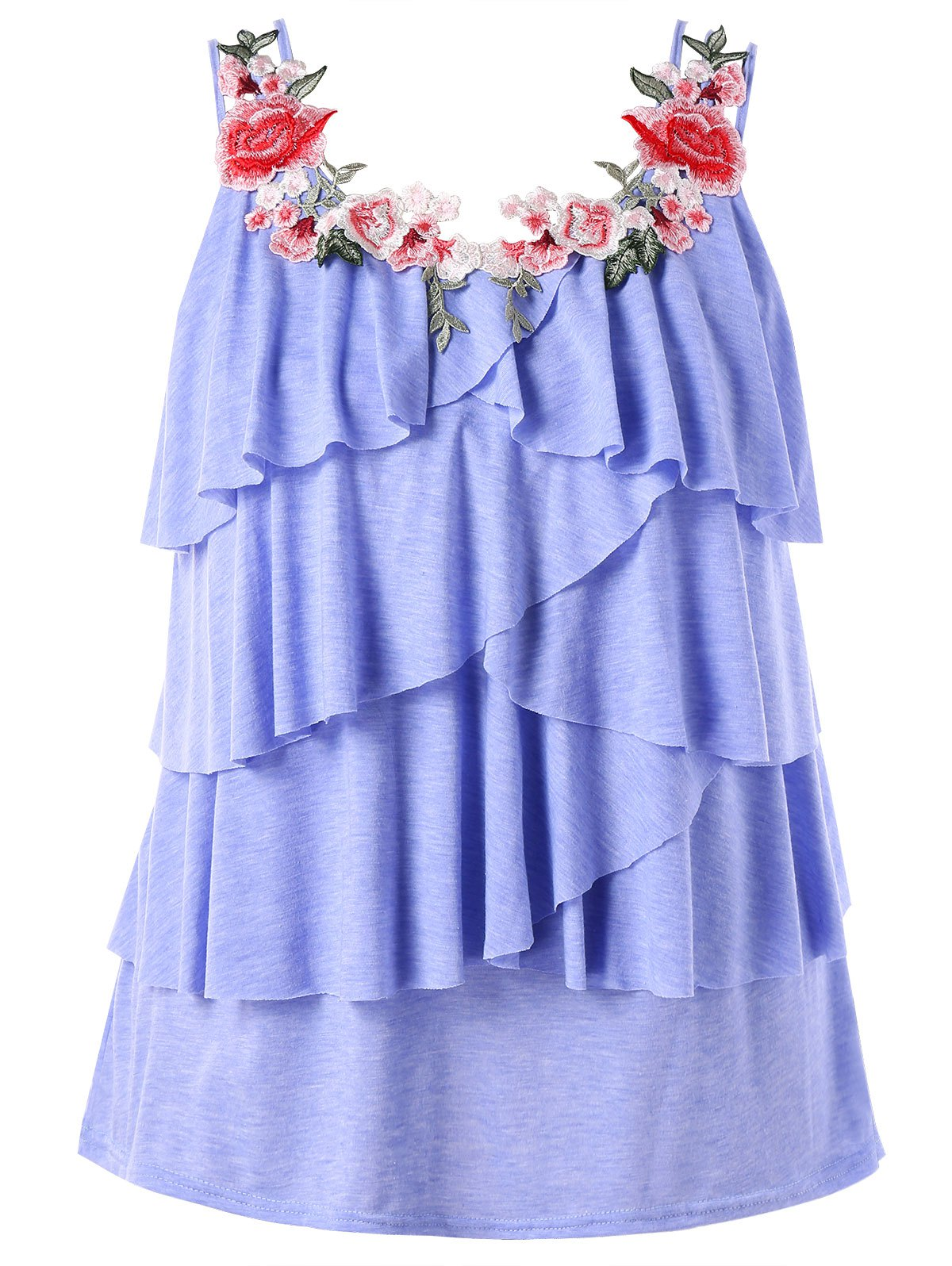 Plus Size Embroidery Layered Ruffle Tank Top - BLUE LOTUS 2X