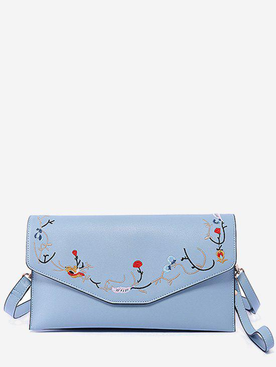 Floral Embroidery Flap Chic Sling Bag - BLUE HORIZONTAL