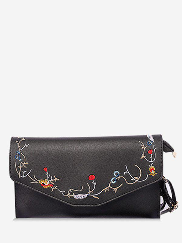 Floral Embroidery Flap Chic Sling Bag - BLACK HORIZONTAL