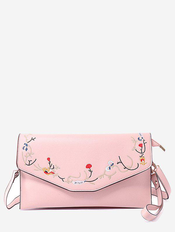 Floral Embroidery Flap Chic Sling Bag - LIGHT PINK HORIZONTAL