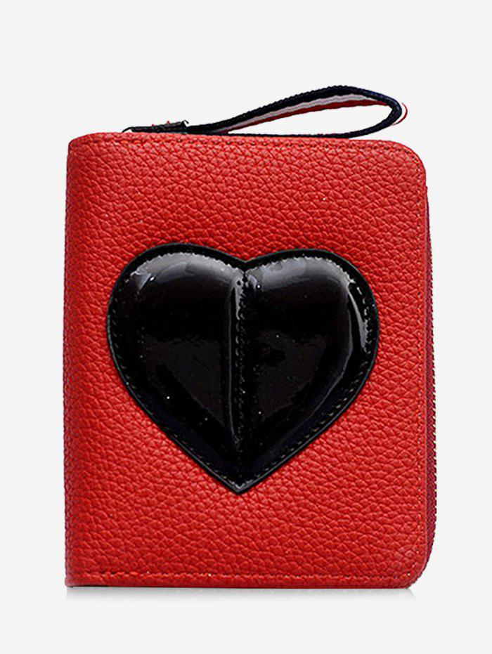 Minimalist Heart Bi Fold Clutch Wallet - RED