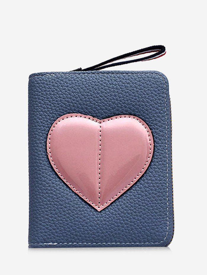 Minimalist Heart Bi Fold Clutch Wallet - BLUE