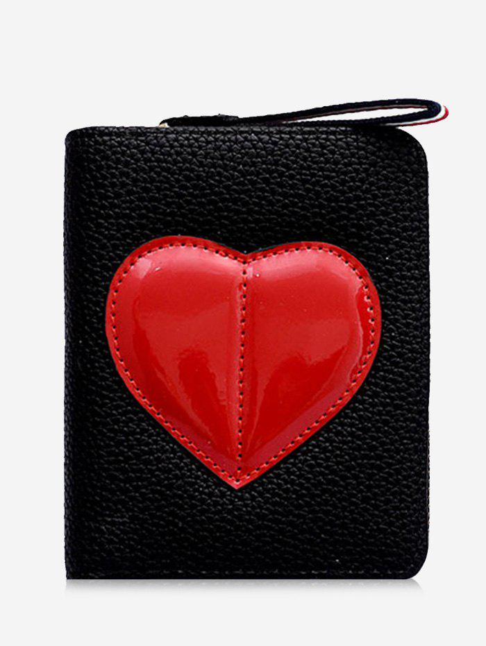 Minimalist Heart Bi Fold Clutch Wallet - BLACK