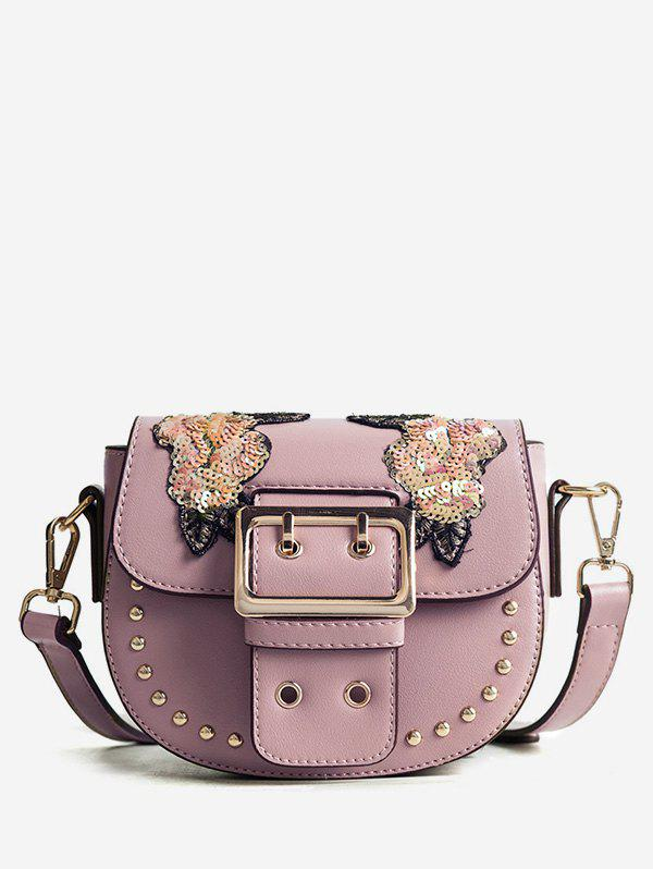 Studs Embroidery Sequined Chic Sling Bag - PINK