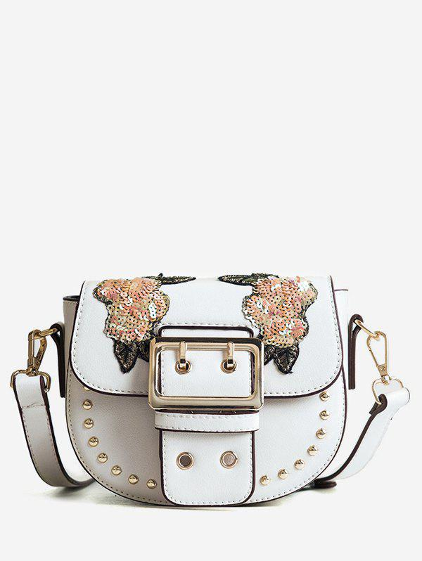 Studs Embroidery Sequined Chic Sling Bag - WHITE