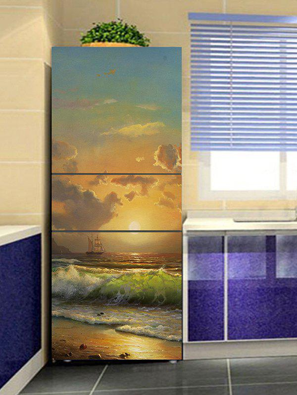 Sunrise Beach Print DIY Fridge Cover Sticker - multicolor 1PC:24*59 INCH( NO FRAME )