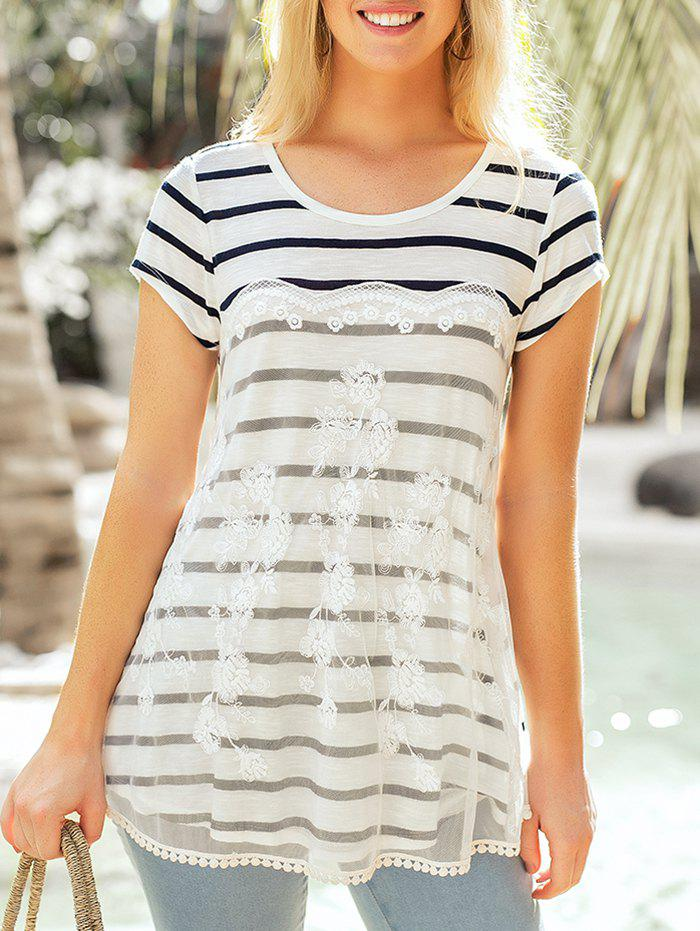 Lace Patchwork Striped Round Neck Top