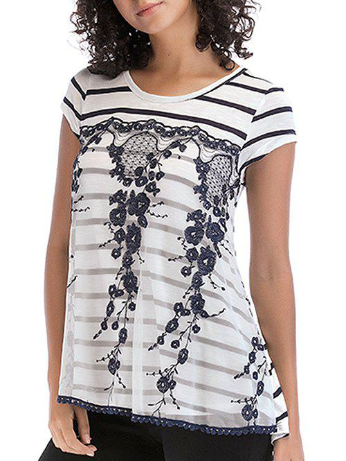 Lace Patchwork Striped Round Neck Top - DARK SLATE BLUE L