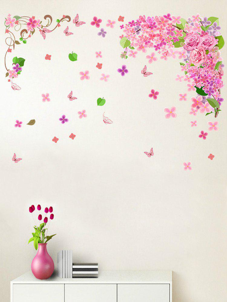 Butterfly Flower Leaf Print Removable Wall Sticker - PINK