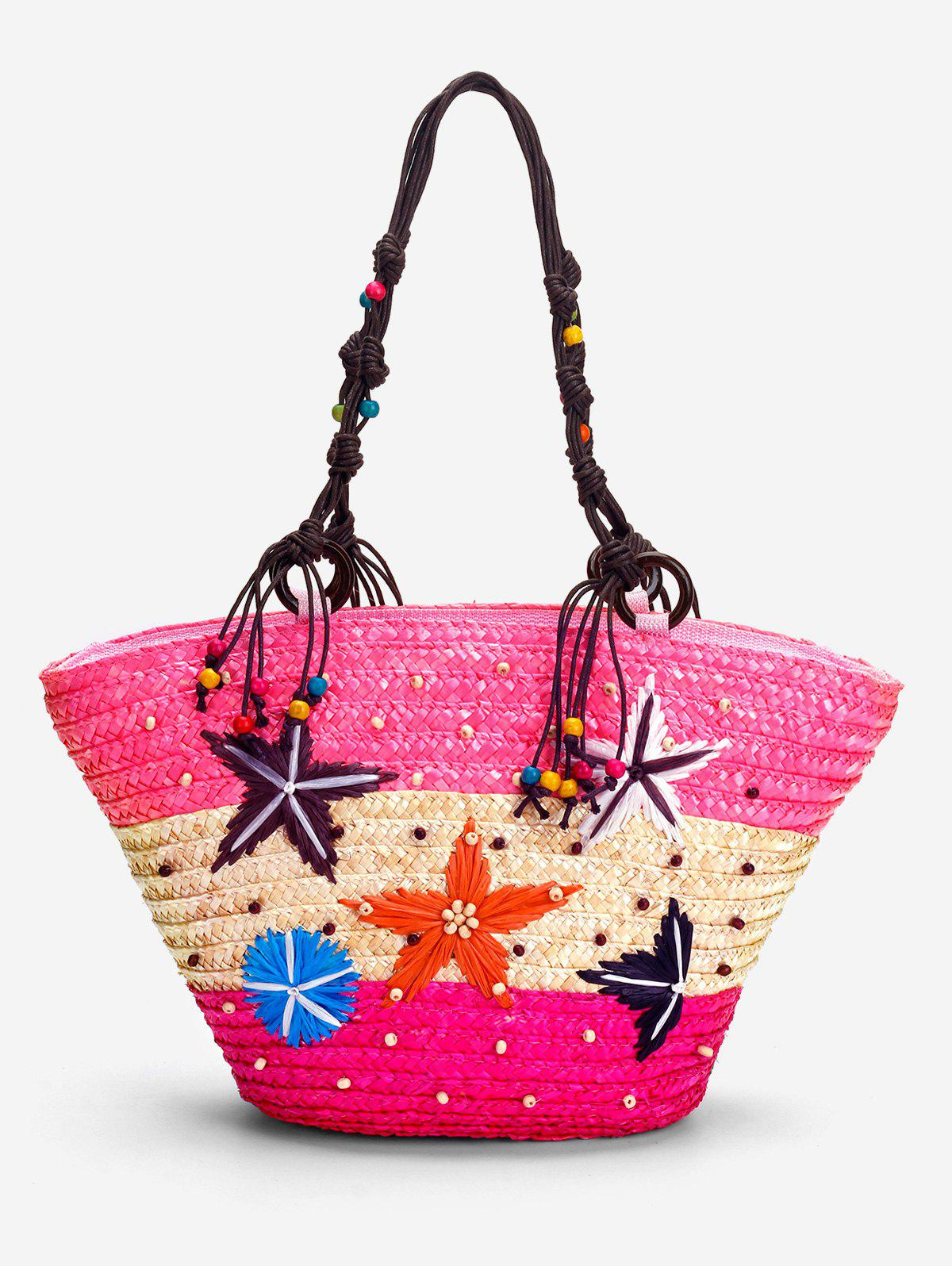 Patchwork Contrasting Color Beaded Studs Tote Bag - PINK