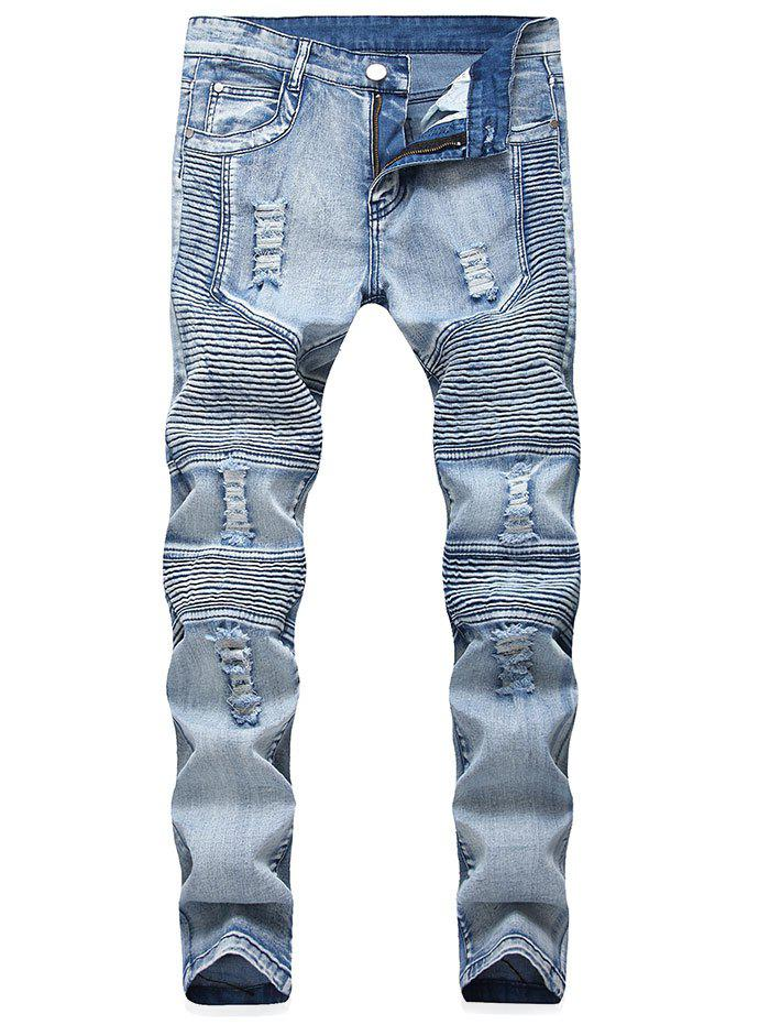 Pleated Distressed Moto Biker Jeans - DENIM BLUE 36