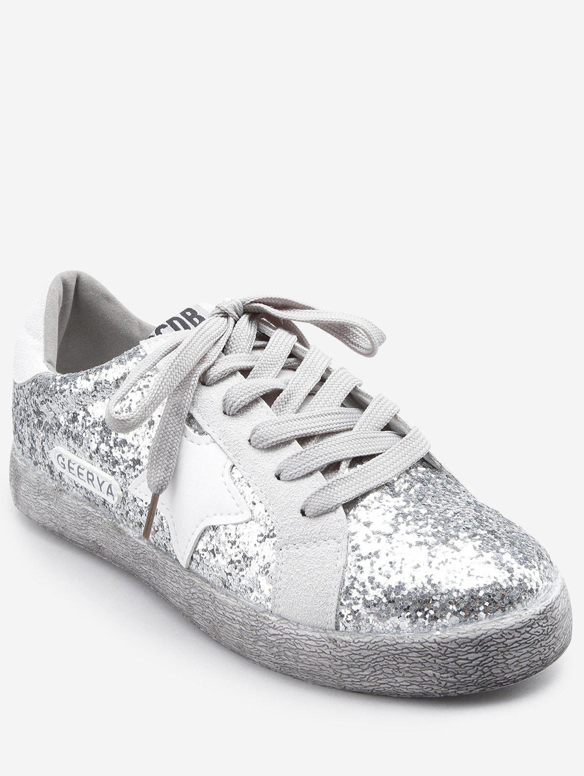 Sparkling Glitters Star Outdoor Casual Sneakers - SILVER 35