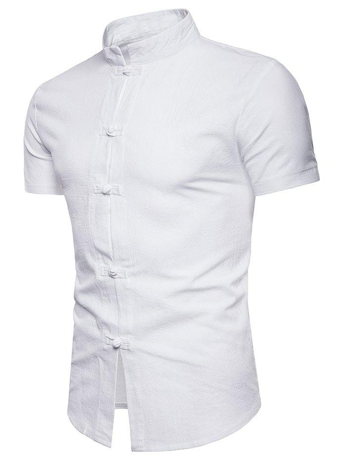 Slim Fit Chinese Button Short Sleeve Shirt - WHITE M