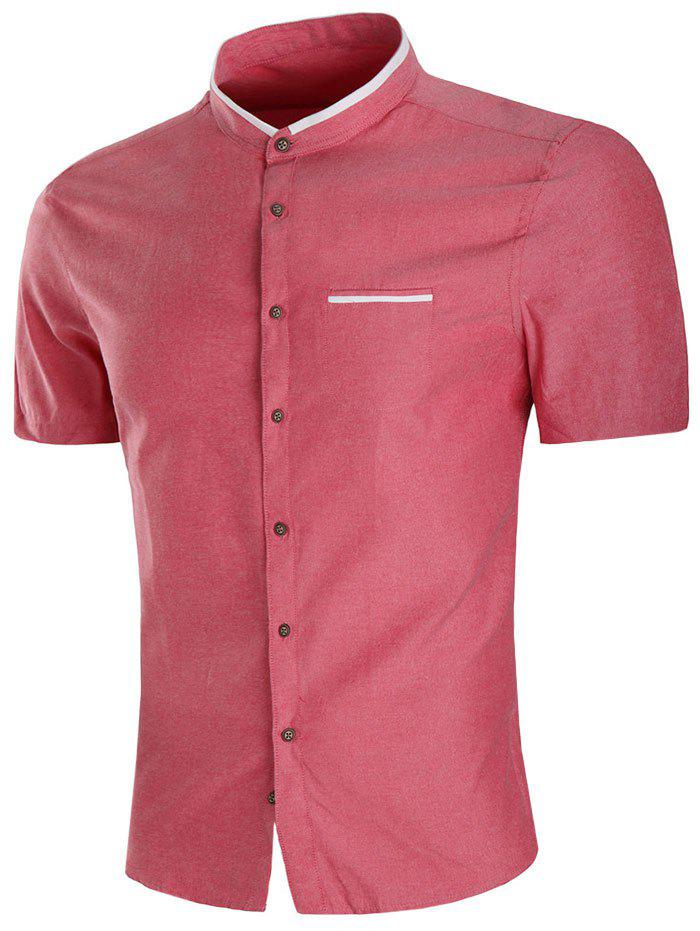 Casual Faux Pocket Short Sleeve Shirt - CHERRY RED M