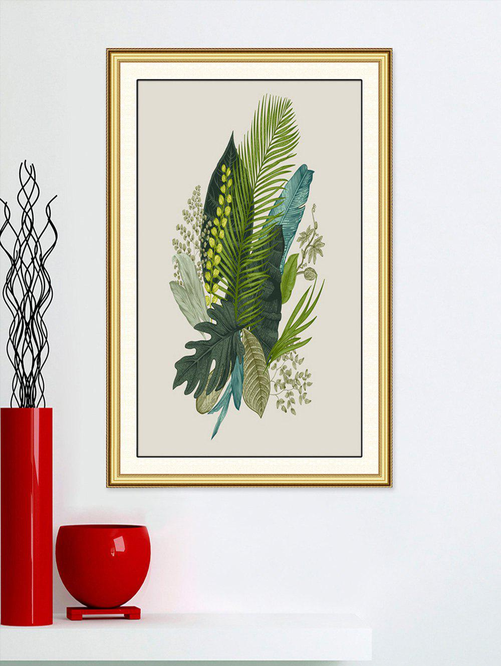 Tropical Leaves Print Wall Art Sticker - MEDIUM FOREST GREEN 42CM*58CM