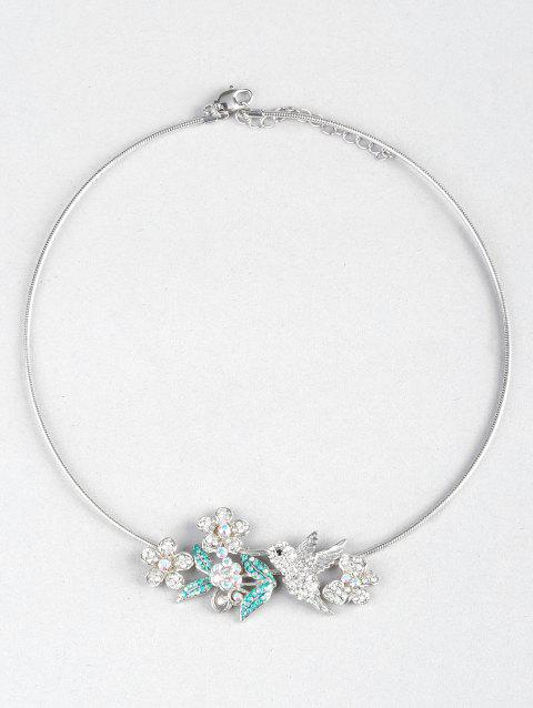 Flowers Birds Butterfly Decoration Collar Necklace - WHITE