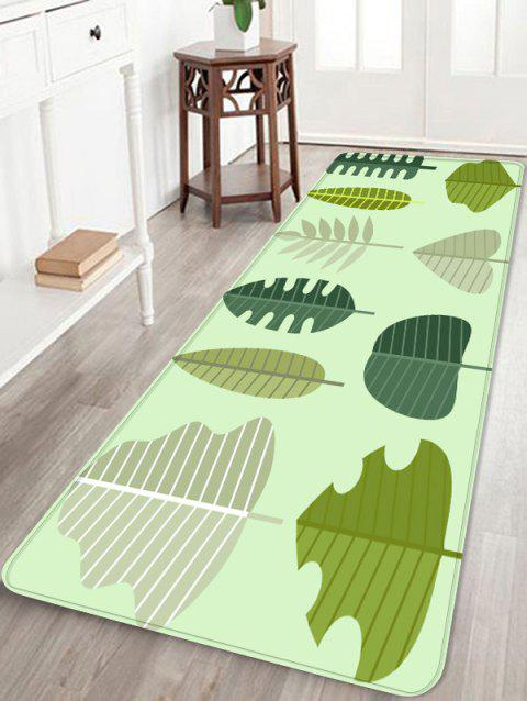 Tree Leaf Printed Coral Fleece Floor Rug - CHARTREUSE W16 INCH * L47 INCH