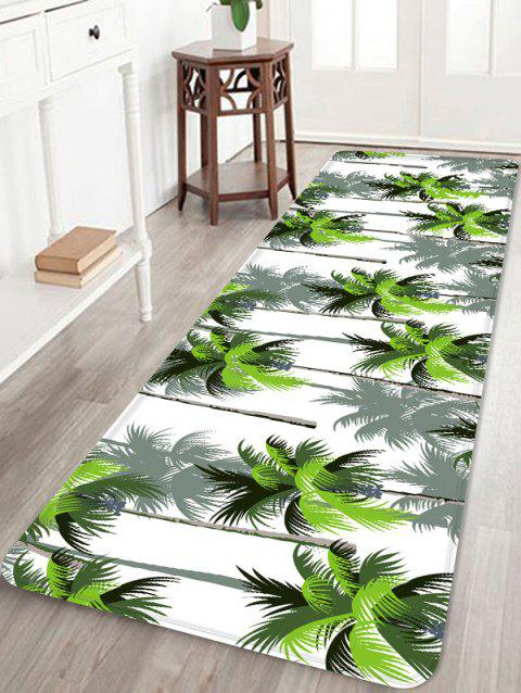 Coconut Trees Printed Coral Fleece Floor Rug - FOREST GREEN W16 INCH * L47 INCH