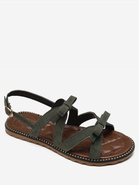 Beaded Leisure Bow Decorated Buckle Strap Sandals - PINE GREEN 35