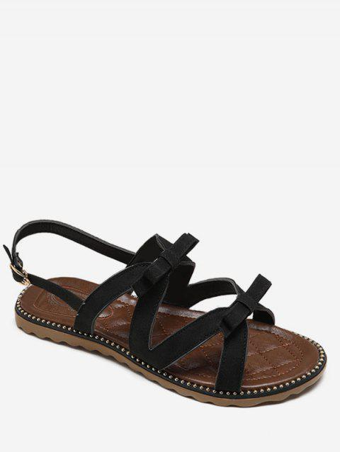 Beaded Leisure Bow Decorated Buckle Strap Sandals - BLACK 38