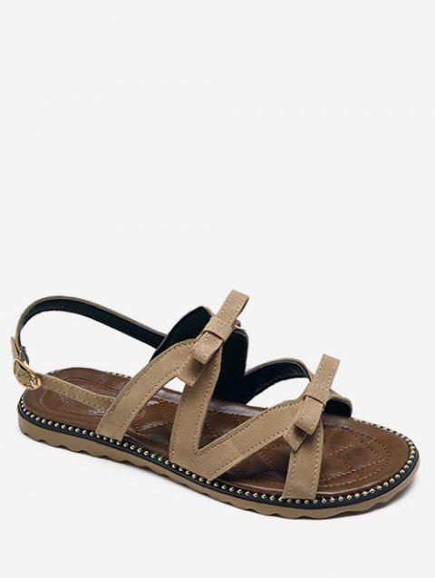 Beaded Leisure Bow Decorated Buckle Strap Sandals - LIGHT KHAKI 38