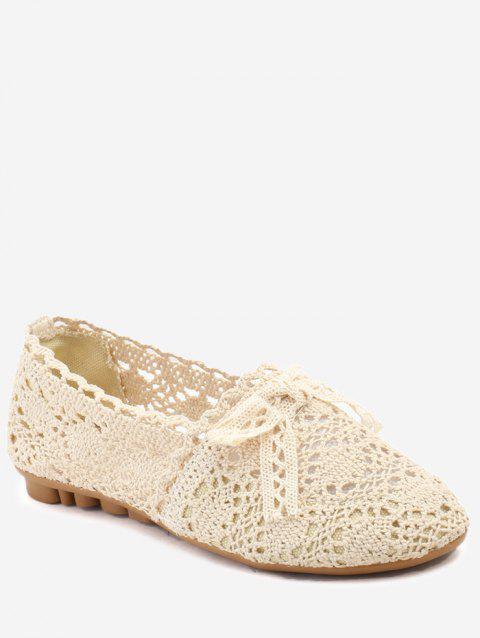 Bowknot Hollow Out Casual Working Flats - BEIGE 38