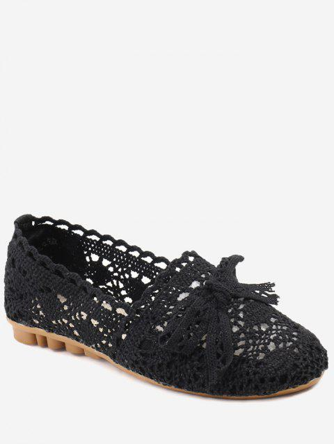Bowknot Hollow Out Casual Working Flats - BLACK 39