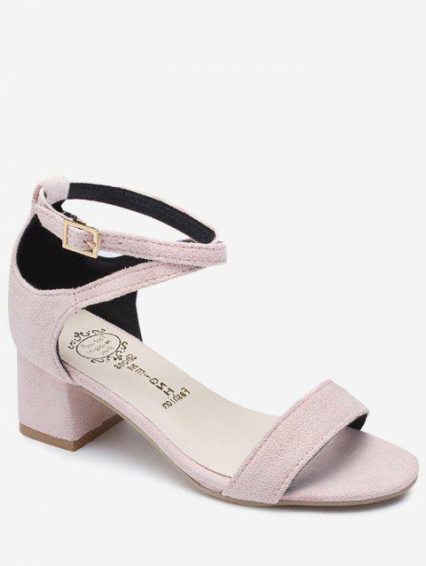 Chunky Heel One Strap Buckled Chic Sandals - LIGHT PINK 36