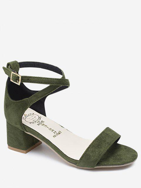 Chunky Heel One Strap Buckled Chic Sandals - ARMY GREEN 38
